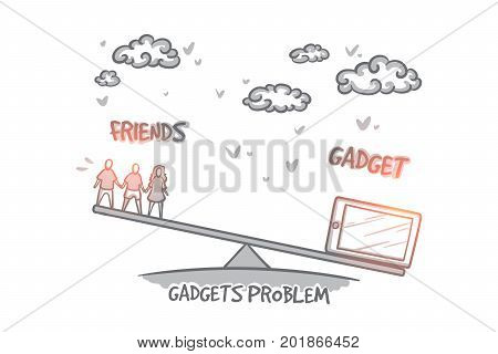 Gadgets problem concept. Hand drawn choice between gadget and friends. Problem of choice isolated vector illustration.