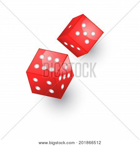 vector flat cartoon casino dotted red color dice cubes. Isolated illustration on a white background. Symbol of gambling game, risk , chances. Profit and money