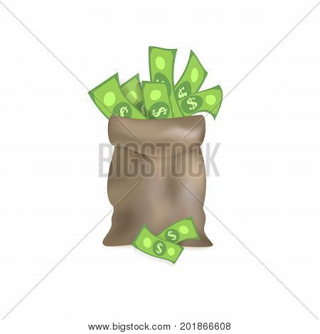 vector flat cartoon big bag with dollar cash. Plenty of money in grey sack. Isolated illustration on a white background. Sign of profit, easy money. Jackpot, bingo casino design poster