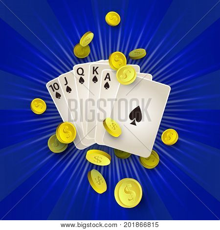 vector flat cartoon Royal Flush in spades poker cards, rain of golden coins around. Illustration on a red background. Sign of profit, easy money. Casino, gambling games design poster