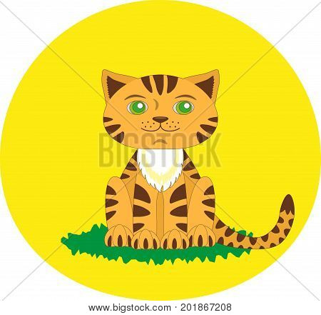 Toy tiger cute childish style. Cartoon character. Flat vector stock illustration.