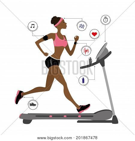 fashion african american girl running on a treadmill infographic with icons.stock vector illustration