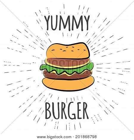 Yummy Burger Vintage Label With Sunburst