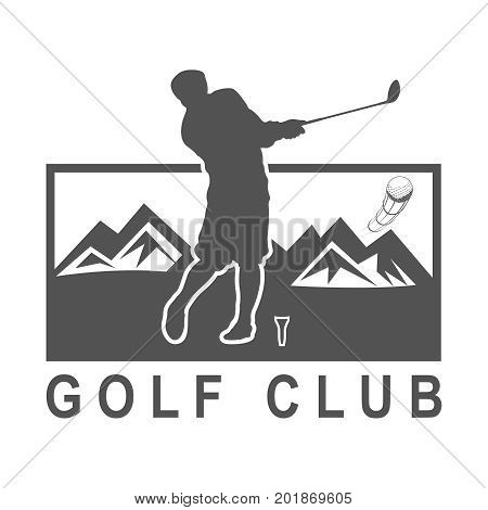 Vintage golf poster with a golf player. Vector illustration