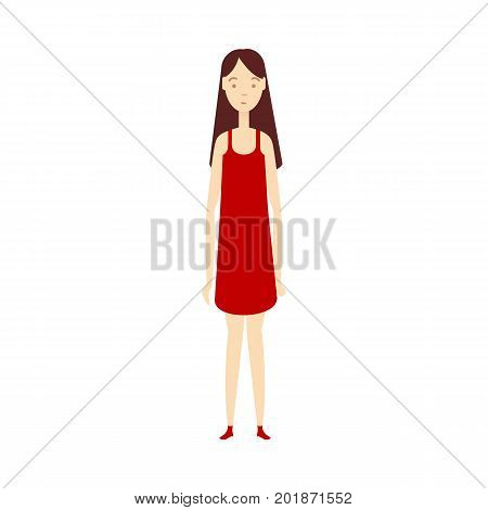 vector flat beautiful young girl in red dress. Isolated illustration on a white background. Long haircut brunette woman, full lenght portrait. Family character cartoon concept.