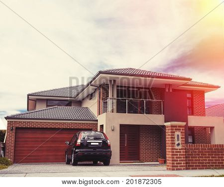 close up picture of house in sunset