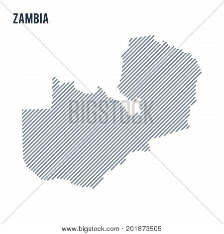 Vector Abstract Hatched Map Of Zambia With Oblique Lines Isolated On A White Background.