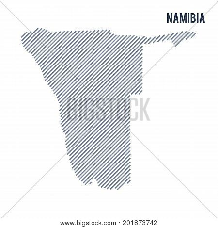 Vector Abstract Hatched Map Of Namibia With Oblique Lines Isolated On A White Background.