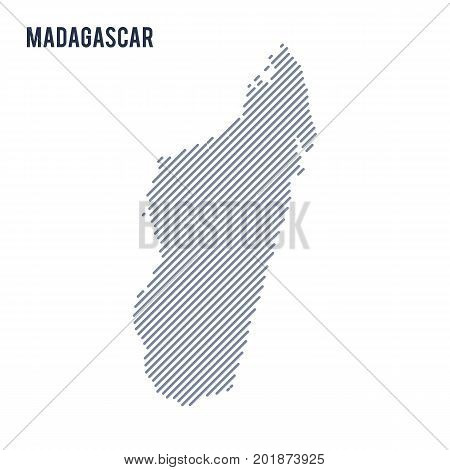 Vector Abstract Hatched Map Of Madagascar With Oblique Lines Isolated On A White Background.