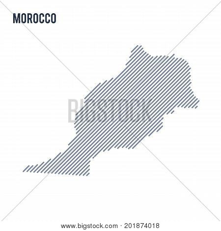 Vector Abstract Hatched Map Of Morocco With Oblique Lines Isolated On A White Background.