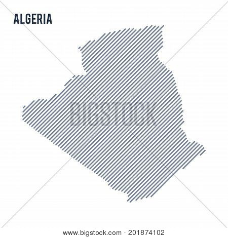 Vector Abstract Hatched Map Of Algeria With Oblique Lines Isolated On A White Background.