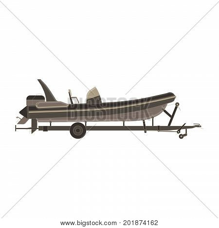 Vector car trailer with boat flat icon isolated side view illustration. Big black cart transport travel