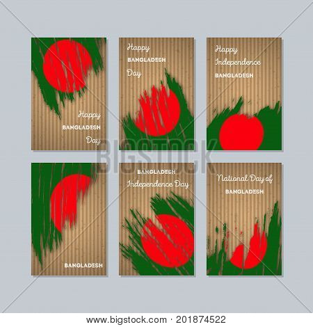 Bangladesh Patriotic Cards For National Day. Expressive Brush Stroke In National Flag Colors On Kraf