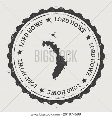 Lord Howe Island Sticker. Hipster Round Rubber Stamp With Island Map. Vintage Passport Sign With Cir