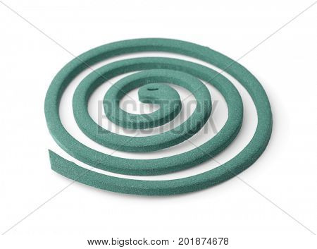 Mosquito repellent coil isolated on white
