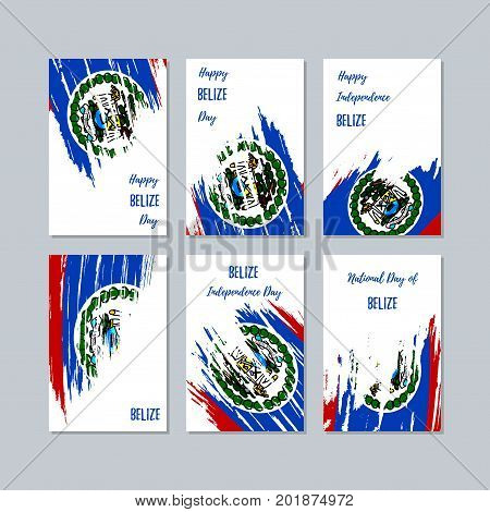 Belize Patriotic Cards For National Day. Expressive Brush Stroke In National Flag Colors On White Ca
