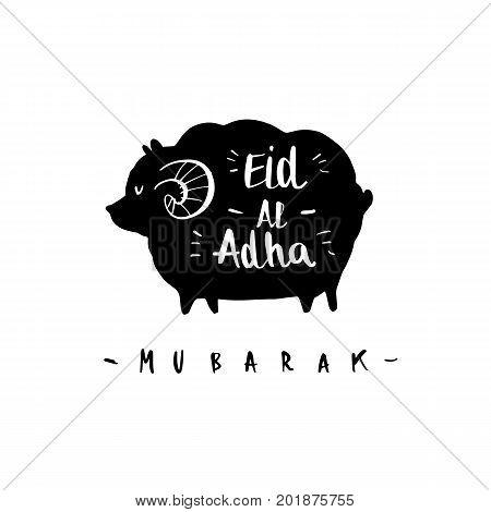 Muslim community festival of sacrifice Eid-Ul-Adha greeting card with silhouette sheep.