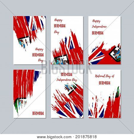 Bermuda Patriotic Cards For National Day. Expressive Brush Stroke In National Flag Colors On White C