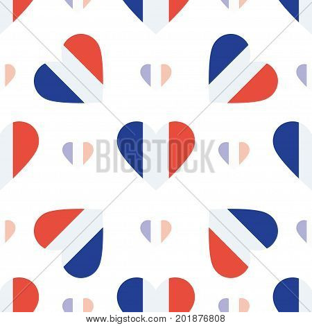 Saint Pierre And Miquelon Flag Patriotic Seamless Pattern. National Flag In The Shape Of Heart. Vect
