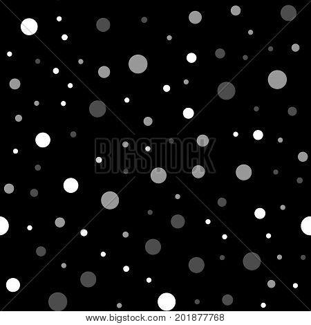 White Polka Dots Seamless Pattern On Black Background. Delicate Classic White Polka Dots Textile Pat