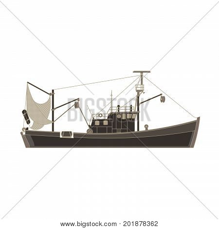 Vector fishing boat flat icon isolated. Vessel ship cargo illustration side view. Black catch commercial container cruise design. Industrial sea ship silhouette transport travel. Water transportation.