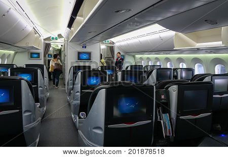 Inside Of Wide-body Airplane