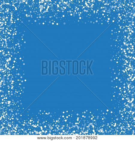Random Falling White Dots. Chaotic Border With Random Falling White Dots On Blue Background. Vector