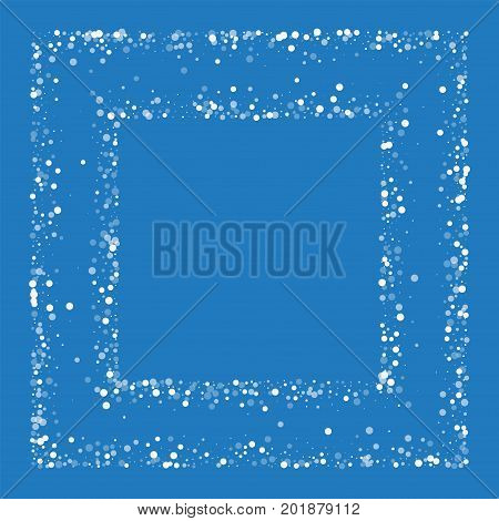 Random Falling White Dots. Square Chaotic Frame With Random Falling White Dots On Blue Background. V
