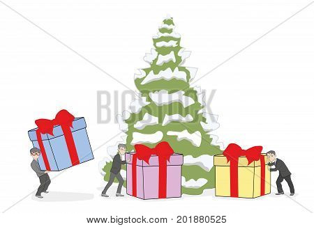 People bring Christmas gifts under the Christmas tree. vector illustration.