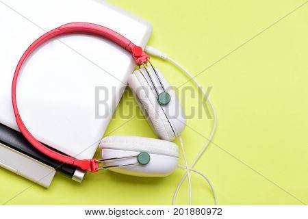 Sound Recording Idea. Earphones Made Of Plastic With Computer.