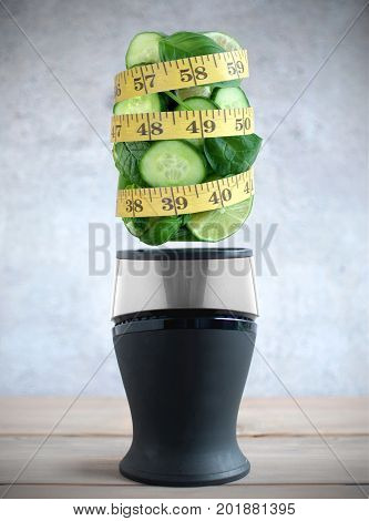 Diet tape measure around fresh green fruits and vegetable ingredients hovering above a blender