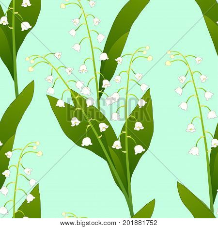 White Lily of the Valley on Green Mint Background. Vector Illustration.