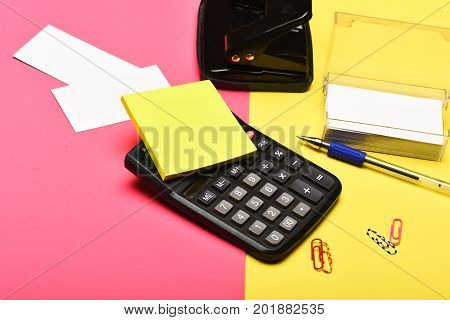Business And Work Concept. Business Card Holder And Calculator
