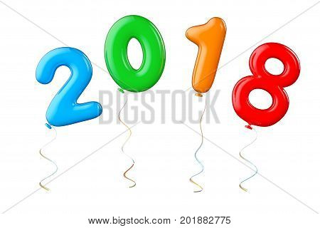 Multicolour Balloons as 2018 New Year Sign on a white background. 3d Rendering
