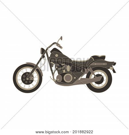 Vector motorcycle flat icon chopper. Motorbike side view vintage illustration design isolated. Antique bike badge black classic cycle day. Engine fast garage old power retro racer silhouette sign.