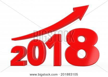 Progress Arrow in New 2018 Year Sign on a white background. 3d Rendering