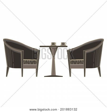 Vector restaurant table with chair flat icon isolated. Romantic banquet illustration. Banquet black cafe cartoon celebration decor decoration elegant empty.Dinner food grunge holiday vintage modern