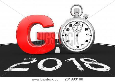 New 2018 Year Concept. Stopwatch as Go Sign over 2018 New Year Road on a white background. 3d Rendering