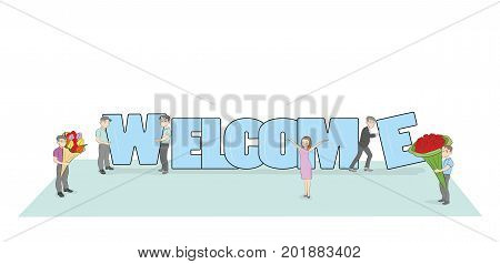Crowd of working little people with big letters Welcome. Doodle cute miniature scene with message Welcome. Hand drawn cartoon vector illustration for internet design.