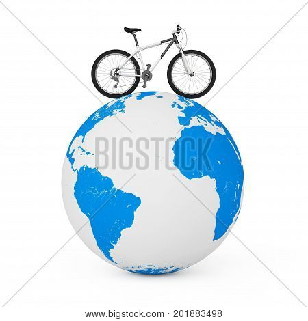 Black and White Mountain Bike over Earth Globe on a white background. 3d Rendering