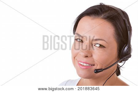 Happy Woman with Headset Working at Callcenter on a white background