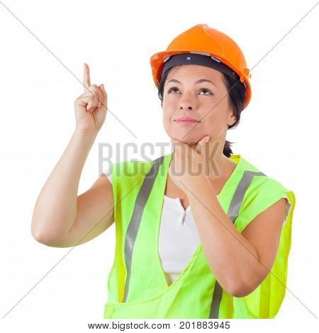 Attractive Woman Worker in Safety Jacket and Yellow Helmet get an Idea on a white background