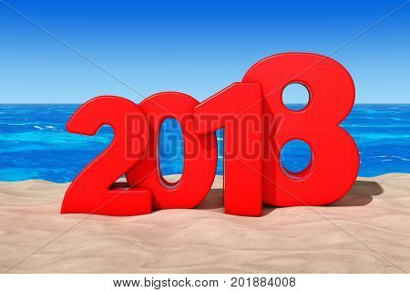 Happy 2018 New Year Concept. 2018 New Year Sign at Sunny Beach extreme closeup. 3d Rendering