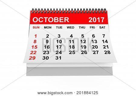 2017 year calendar. October calendar on a white background. 3d rendering