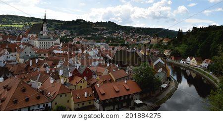 Aerial view of Cesky Krumlov, Czech Republic