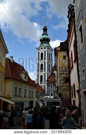 Street in Cesky Krumlov, Czech Krumlov, Czech Republic: 26 of July 2017