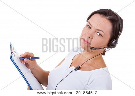 Happy Woman with Headset Working at Callcenter Hold Clipboard on a white background