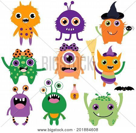 Cute funny and silly vector monsters for Halloween in purple green and orange colors