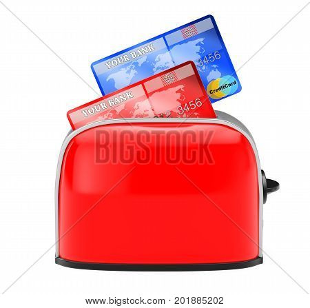 Hot Credits Concept. Credit Card Popping Out of Vintage Red Toaster on a white background. 3d Rendering