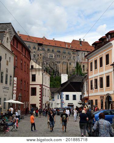 Street in Cesky Krumlov, Czech Krumlov, Czech Republic: 25 of July 2017